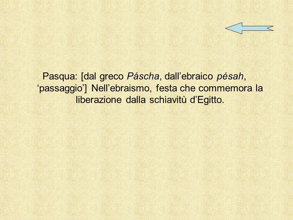 Pasqua: [dal greco Páscha, dall'ebraico pésah, 'passaggio'] Nell'ebraismo, festa che commemora la liberazione dalla schiavitù d'Egitto.